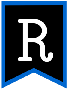 Letter R chalkboard back to school banner flag with blue border