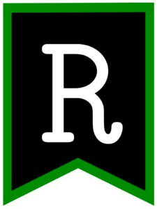 Letter R chalkboard back to school banner flag with green border