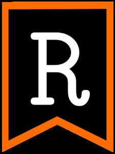 Letter R chalkboard back to school banner flag with orange border