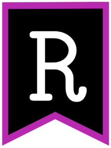 Letter R chalkboard back to school banner flag with purple border