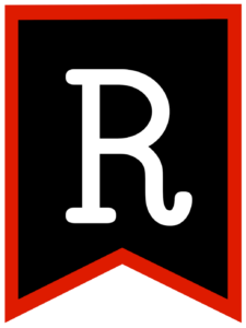 Letter R chalkboard back to school banner flag with red border