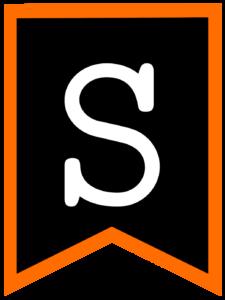 Letter S chalkboard back to school banner flag with orange border
