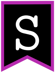 Letter S chalkboard back to school banner flag with purple border