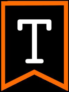 Letter T chalkboard back to school banner flag with orange border