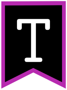 Letter T chalkboard back to school banner flag with purple border