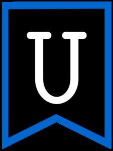 Letter U chalkboard back to school banner flag with blue border