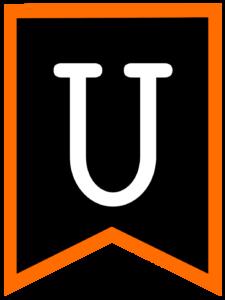 Letter U chalkboard back to school banner flag with orange border