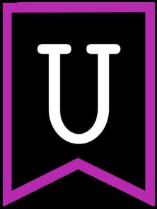 Letter U chalkboard back to school banner flag with purple border