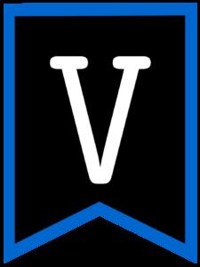 Letter V chalkboard back to school banner flag with blue border