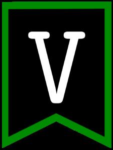 Letter V chalkboard back to school banner flag with green border