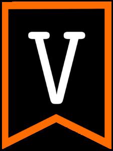 Letter V chalkboard back to school banner flag with orange border