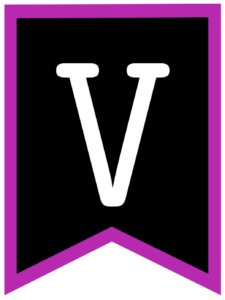 Letter V chalkboard back to school banner flag with purple border