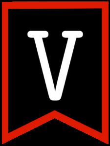 Letter V chalkboard back to school banner flag with red border