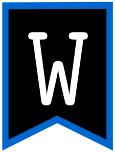Letter W chalkboard back to school banner flag with blue border