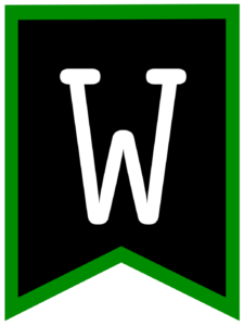 Letter W chalkboard back to school banner flag with green border