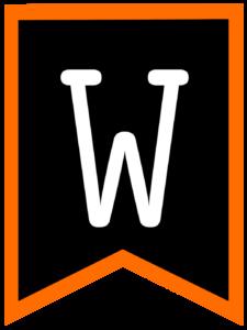 Letter W chalkboard back to school banner flag with orange border