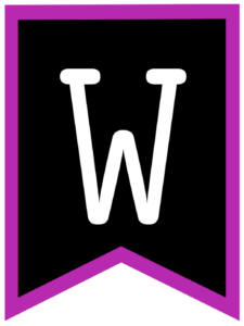 Letter W chalkboard back to school banner flag with purple border