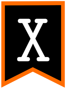 Letter X chalkboard back to school banner flag with orange border