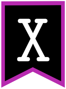 Letter X chalkboard back to school banner flag with purple border
