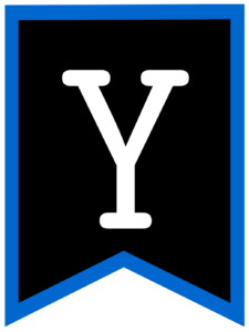 Letter Y chalkboard back to school banner flag with blue border
