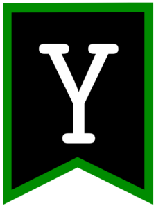 Letter Y chalkboard back to school banner flag with green border