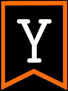 Letter Y chalkboard back to school banner flag with orange border