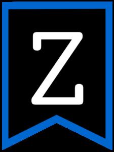 Letter Z chalkboard back to school banner flag with blue border