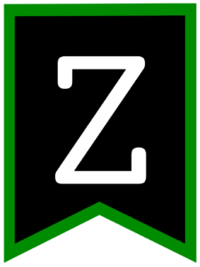 Letter Z chalkboard back to school banner flag with green border