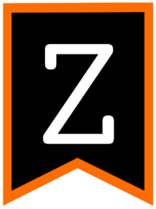 Letter Z chalkboard back to school banner flag with orange border