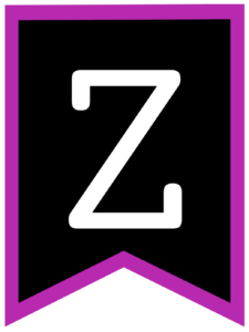Letter Z chalkboard back to school banner flag with purple border