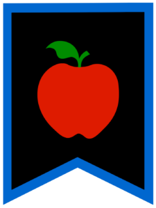 Apple chalkboard back to school banner flag with blue border