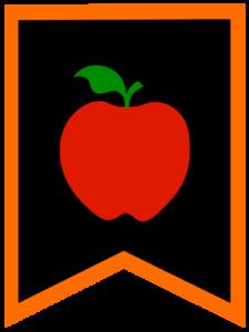 Apple chalkboard back to school banner flag with orange border
