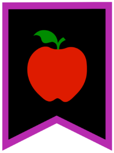Apple chalkboard back to school banner flag with purple border
