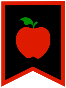 Apple chalkboard back to school banner flag with red border
