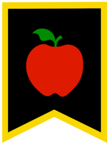 Apple chalkboard back to school banner flag with yellow border