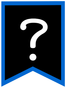 Question Mark chalkboard back to school banner flag with blue border