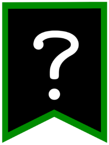Question mark chalkboard back to school banner flag with green border