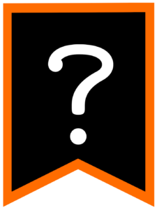 Question mark chalkboard back to school banner flag with orange border