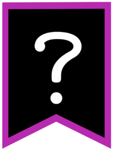 Question mark chalkboard back to school banner flag with purple border