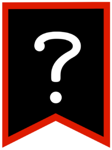 Question mark chalkboard back to school banner flag with red border