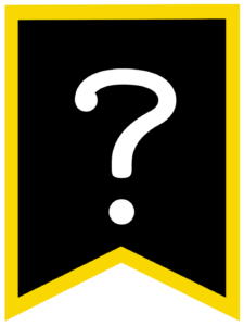 Question mark chalkboard back to school banner flag with yellow border