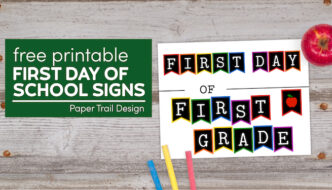 First Day of first grade sign with apple and chalk with text overlay- free printable first day of school signs