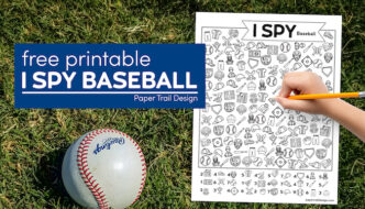 I spy baseball themed activity page with kid's hand holding pencil and a baseball in the grass with text overlay- free printable I spy baseball