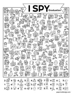 Free printable I spy graduation game perfect for a graduation party with kids