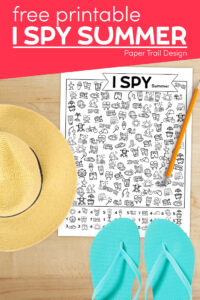 I spy summer themed kids activity with sun hat and flip flops with text overlay- free printable I spy summer