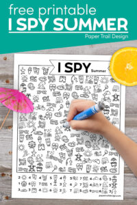 I spy summer activity with kids hand holding marker with text overlay- free printable I spy summer