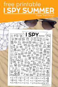 Summer themed I spy kids activity page with sunglasses and towel with text overlay- free printable I spy summer