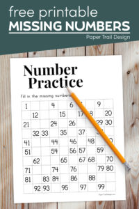Missing numbers worksheet from 1-100 with text overlay -free printable missing numbers