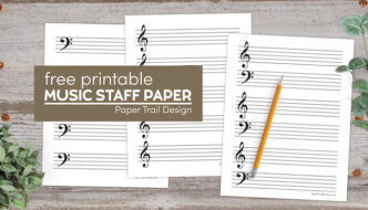 Treble, bass, and combined treble and bass clef music staff paper with text overlay- free printable music staff paper