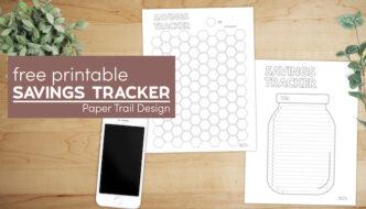 Savings goal trackers with text overlay- free printable savings tracker